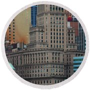 Skyline Of Manhattan - New York City Round Beach Towel