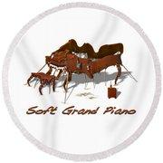 Soft Grand Piano  Round Beach Towel