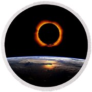 Solar Eclipse From Above The Earth Round Beach Towel