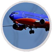 Southwest Airlines Airplane In Flight Round Beach Towel