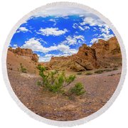 Spherical Panorama From A Canyon Charyn Round Beach Towel
