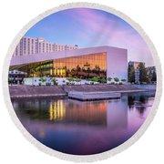 Spokane Washington City Skyline And Convention Center Round Beach Towel