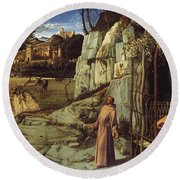 St. Francis In The Desert Round Beach Towel