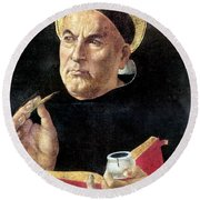 St. Thomas Aquinas Round Beach Towel