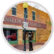 Standing On The Corner - Winslow Arizona Round Beach Towel