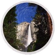 Star Trails At Yosemite Falls Round Beach Towel
