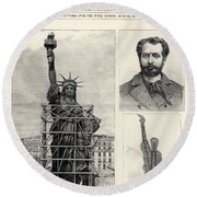 Statue Of Liberty, 1885 Round Beach Towel