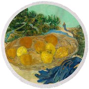Still Life Of Oranges And Lemons With Blue Gloves Round Beach Towel