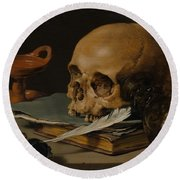 Still Life With A Skull And A Writing Quill Round Beach Towel