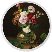 Still Life With Flowers In A Glass Vase And Cherry Twig Round Beach Towel
