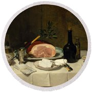 Still Life With Ham Round Beach Towel