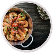 Stir Fry Prawns In Spicy Asian Pineapple And Herbs Sauce Round Beach Towel