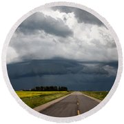 Storm Clouds Prairie Sky Round Beach Towel