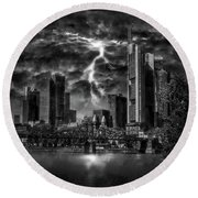 Storm Over Frankfurt Round Beach Towel