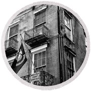2 Story Building New Orleans Black White  Round Beach Towel