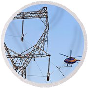 Stringing Power Cable By Helicopter Round Beach Towel