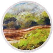 Structure Of Wooden Log Covered With Moss On The Riverside, Closeup Painting Detail. Round Beach Towel