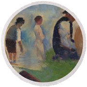 Study For Bathers At Asnieres Round Beach Towel