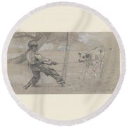Study For The Unruly Calf Round Beach Towel