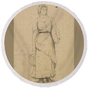 Study Of A Peasant Woman Round Beach Towel