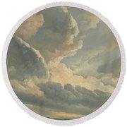 Study Of Clouds With A Sunset Near Rome Round Beach Towel
