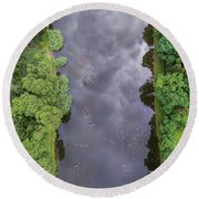 Summer Landscape. Green Trees At Riverbank In Poland. Round Beach Towel