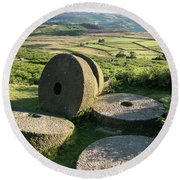 Summer Landscape Image Of Millstones On Top Of Stanage Edge In P Round Beach Towel