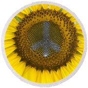 Sunflower Peace Sign Round Beach Towel