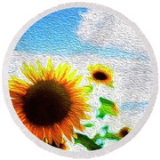 Sunflowers Abstract Round Beach Towel