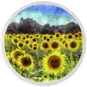 Sunflowers Van Gogh Round Beach Towel