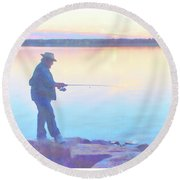 Sunrise Fisherman Round Beach Towel