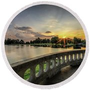 Sunrise In The Park Round Beach Towel