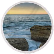 Sunrise On The Rocky Coast Round Beach Towel