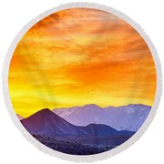 Sunrise Over Colorado Rocky Mountains Round Beach Towel