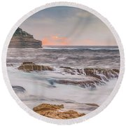 Sunrise Seascape And Headland Round Beach Towel