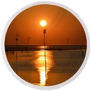Sunset At Rock Harbor Round Beach Towel
