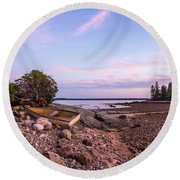 Sunset In New England Round Beach Towel