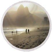 Sunset In Rio De Janeiro Round Beach Towel