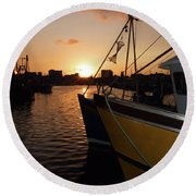 Sunset Over Sutton Harbour Plymouth Round Beach Towel