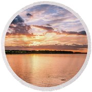 Sunset Over The Bay.......... Round Beach Towel