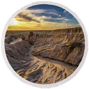 Sunset Over Walls Of China In Mungo National Park, Australia Round Beach Towel