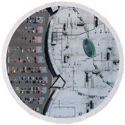 Supermarket Roof And Many Cars In Parking, Viewed From Above. Round Beach Towel