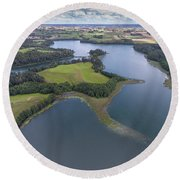 Suwalki Landscape Park, Poland. Summer Time. View From Above. Round Beach Towel