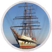 Tall Ship Anchored Off Penzance Round Beach Towel