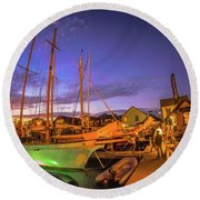 Tall Ships And Yahts Moored In Newport Harbor Round Beach Towel