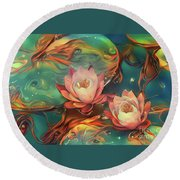 Teal And Peach Waterlilies Round Beach Towel