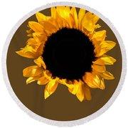 Sunflower Stretching On Brown Round Beach Towel