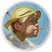 The Bubble Boy Round Beach Towel
