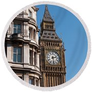 The Clock Tower In London Round Beach Towel