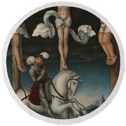 The Crucifixion With The Converted Centurion Round Beach Towel